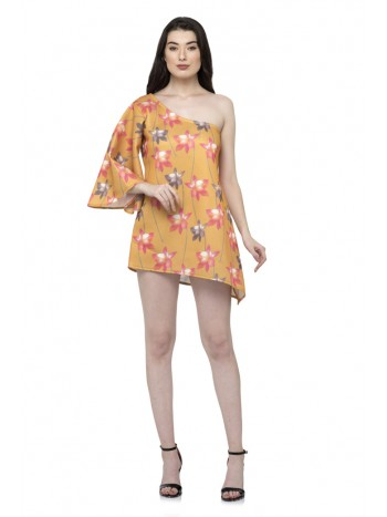 Asymmetric one sleeve flower print dress