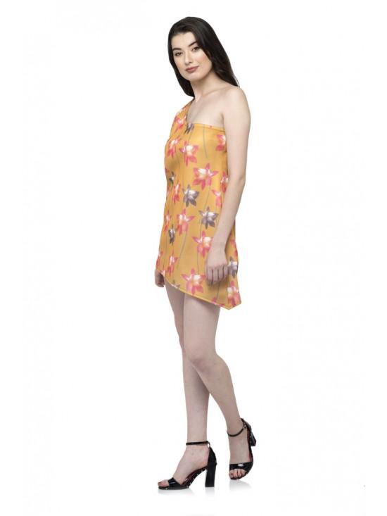 Asymmetric One Sleeve flower Print Dress