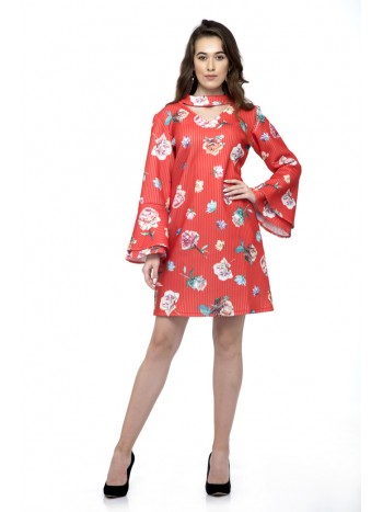 Full bell sleeve floral shift dress