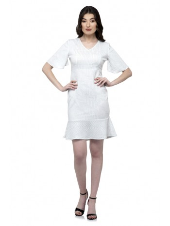 Silver ruffle sleeve one piece dress with ruffle hem