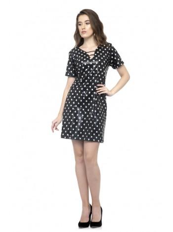 Black polka dot mini dresses