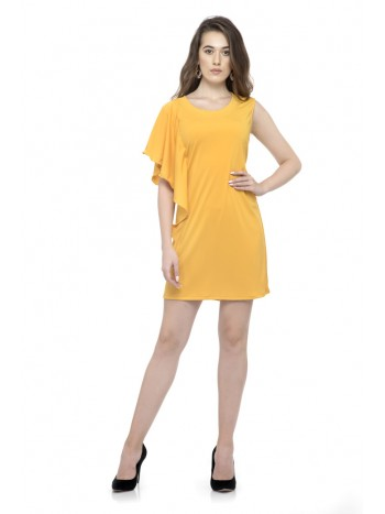 Dark Yellow one side long ruffle sleeve dress