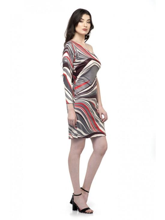 Printed one Sleeve one shoulder off dress