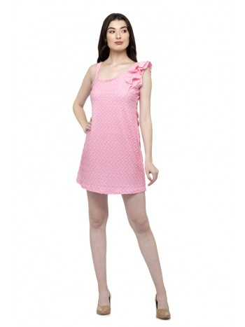 Baby pink color one side ruffle one side strip sleeve dress