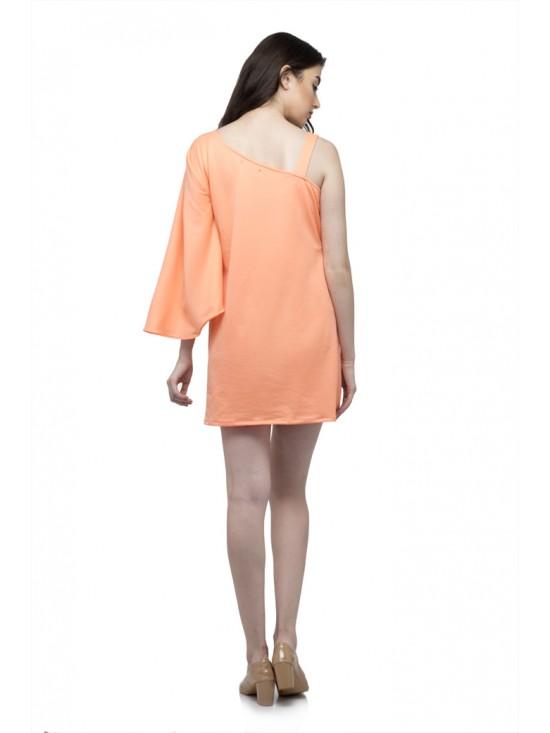 One side full ruffle one side strip sleeve mini dress