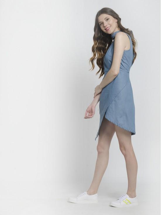 Sustainable Style Side Slit Choker Dress