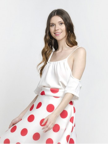 Retro Cold Shoulder White Spaghetti Top