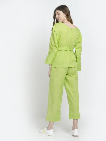 Green Trouser For Full Sleeve Shirt With Bow Belt