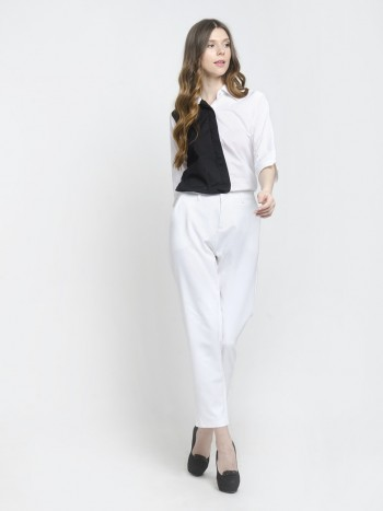 Black & White Colour Block Formal Shirt