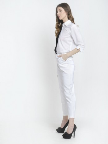 White Formal Crisp Pants