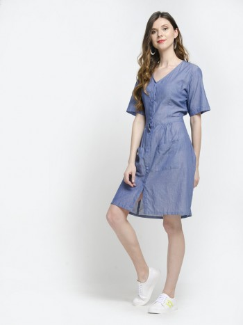 Short Sleeve V Neck Button Down Mini Dress with Pockets