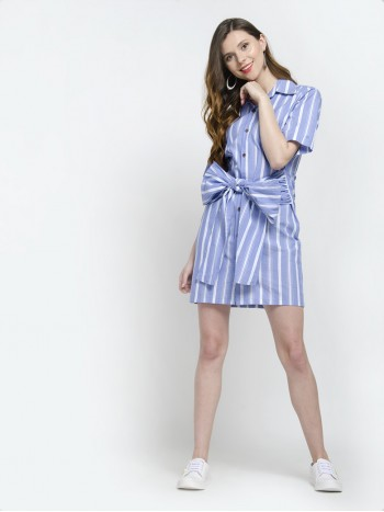 Short Sleeve Bowknot Belt Stripe Shirt Dress