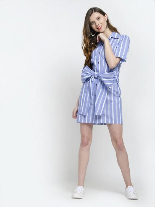Short Sleeve Bowknot Belt Stripe Shirt Dress