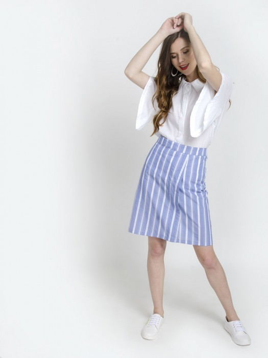 White Kimono Sleeve Straight Collar Top Shirt