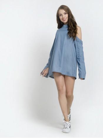 Long Sleeve Open Shoulder Mini Dress