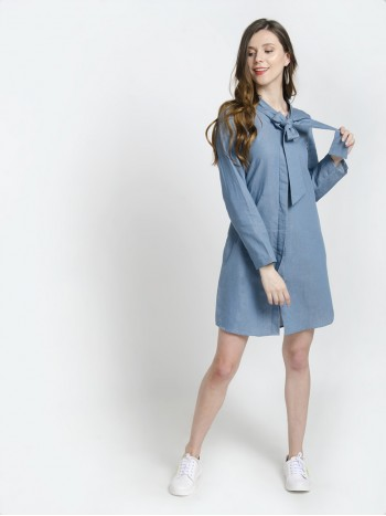 Denim Blue Full Sleeves Bow Tie Neck Mini Dress