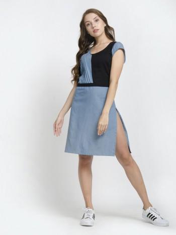 Colorblock Short Sleeve Leg Split Mini Dress