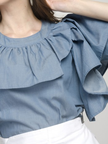 Short Sleeves Front Ruffled Denim Blue Top