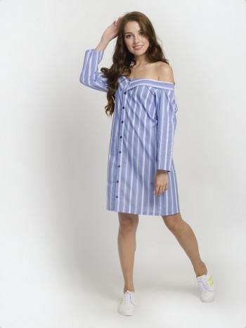 Striped Off the Shoulder Shirt Dress