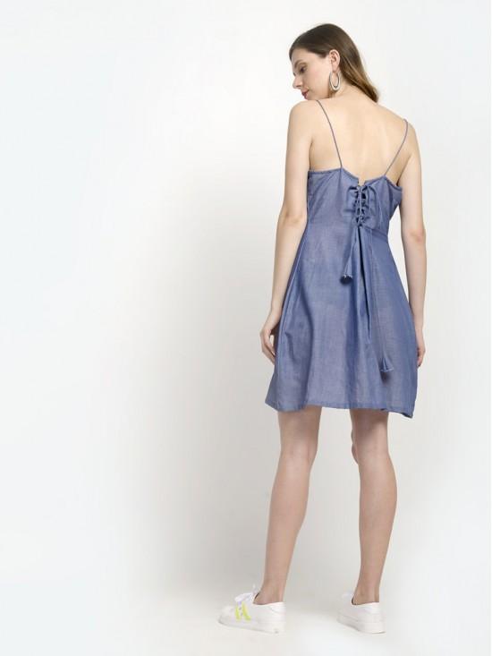 Denim Blue Criss Cross Tie Back Mini Dress