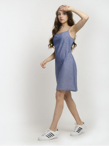 Denim Blue Spaghetti Strap Wrap Hemline Mini Dress