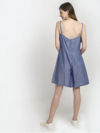 Thin Strap Sleeveless Large Hemline Mini Dress