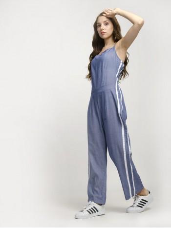 Sustainable Style Strap Denim Blue Jumpsuit