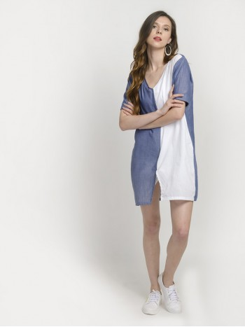Women's Summer Colorblock Casual Loose Split T-Shirt Dress