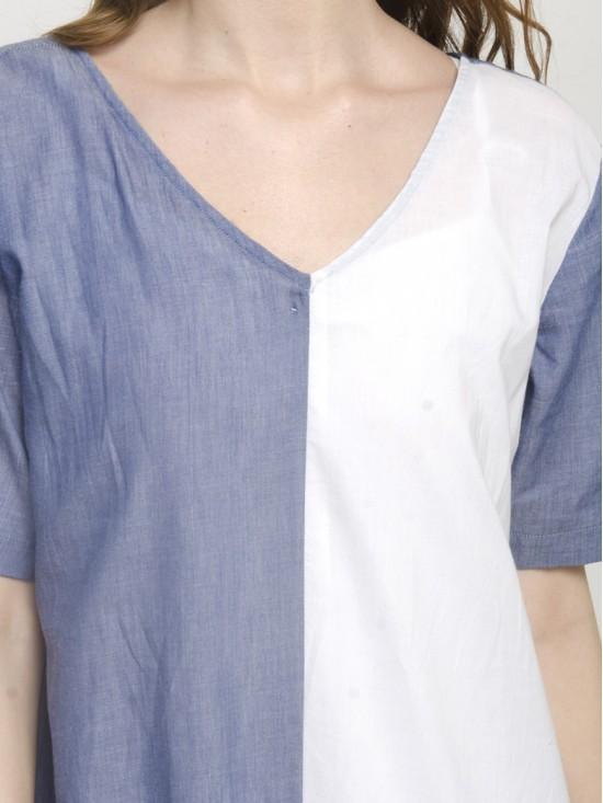 Women's Summer Colorblock Casual Loose Split T-Shirt Dress
