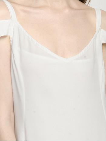 White Open Shoulder V Neck Mini Dress