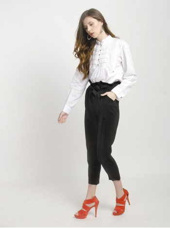Womens White Mandarin Collar Shirt