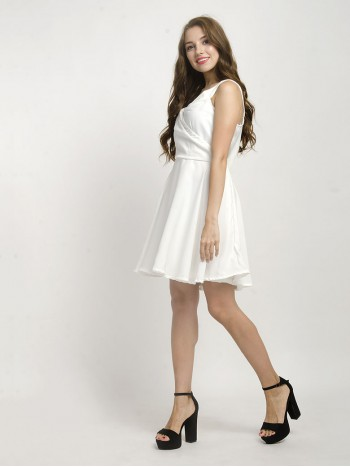 White Sleeveless Flare Mini Dress