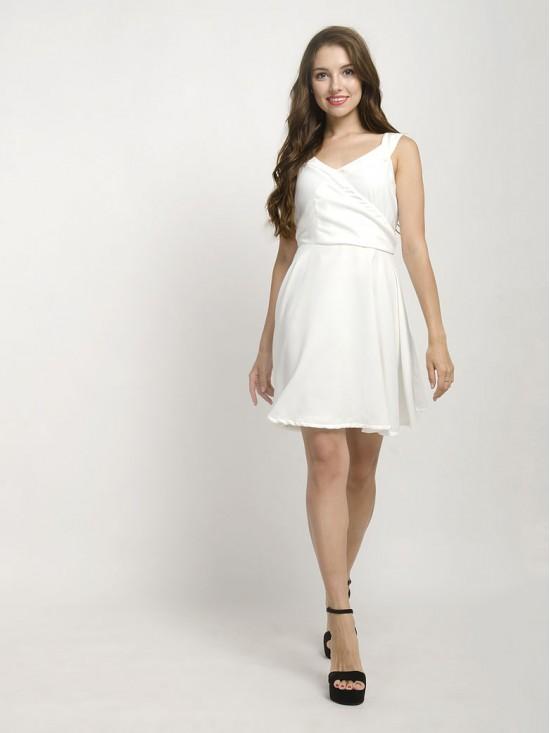 White Sleeveless Flare Mini Dress