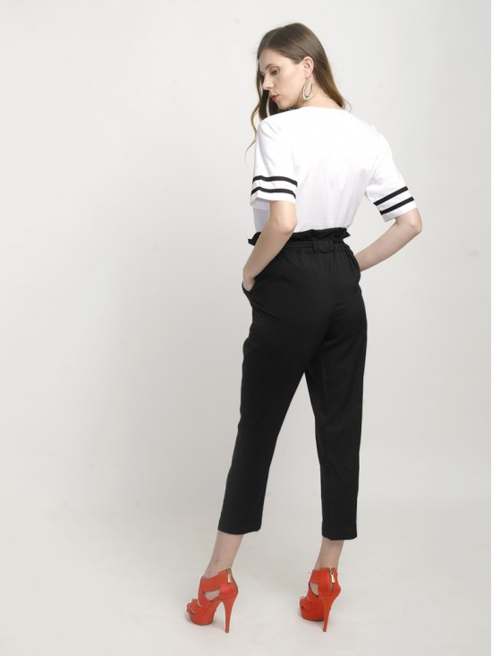 Black Paper-Bag Pants