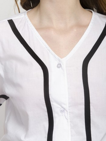 V-Neckline White Short Sleeve Shirt