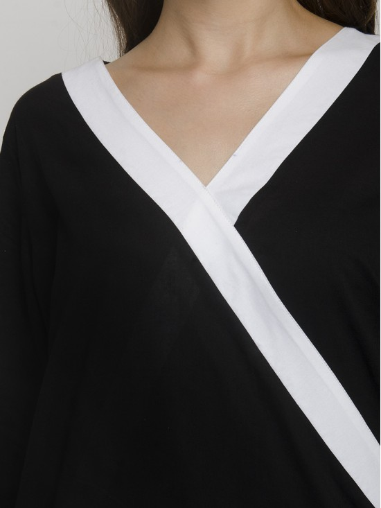 Wrap Over Neckline Black Top