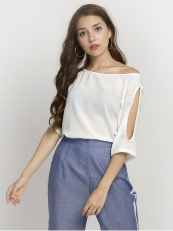 White Cold Shoulder Sleeve Top