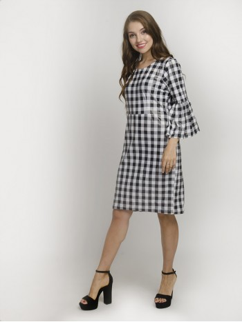 Black & White Checkered Round-Neck Bell Sleeve Gingham Pattern Midi Dress