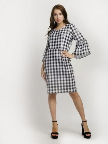 Black & White Checkered V-Neck Sleeveless Mini Dress