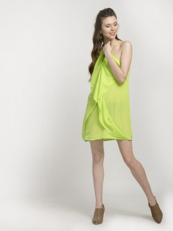 Alable Halter Neck Sleeveless Neon Lime Ruffle Dress