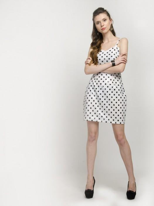 White Spaghetti Strap Polka Dot Mini Dress