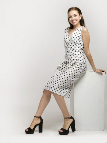 V-Neck Polka Dot Sleeveless Midi Dress