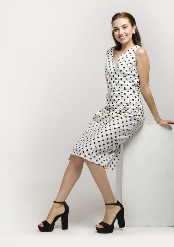 V-Neck Polka Dot Sleeveless Midi Dress