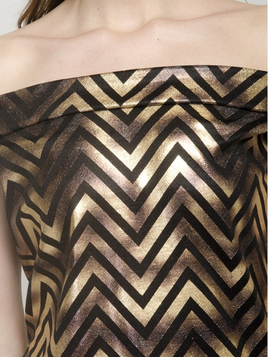 Zig Zag Black & Golden Off Shoulder Skater Dress