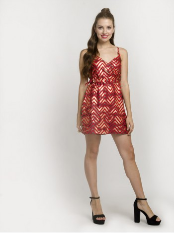 Alable Red Chevron Cami Dress