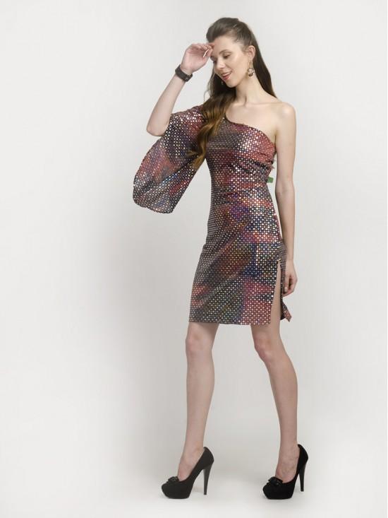 One-Shoulder Split Mini Sequin Ruffle Dress