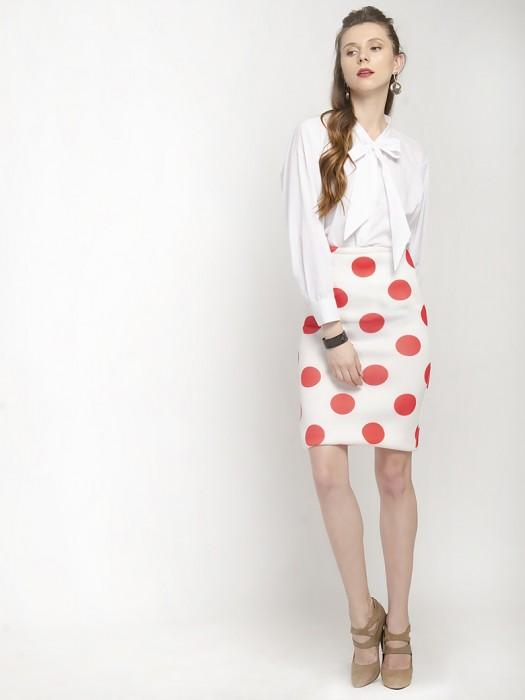 White Polka Dot Pencil Skirt