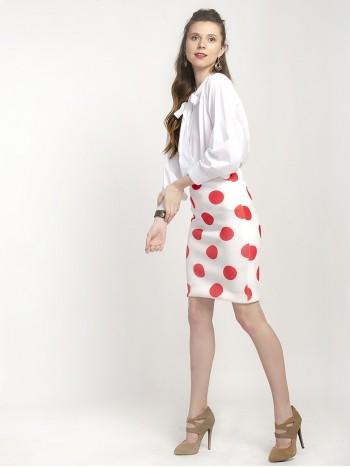 Alable White Polka Dot Pencil Skirt