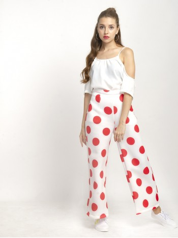 Cold Polka Dot Wide Leg Pants
