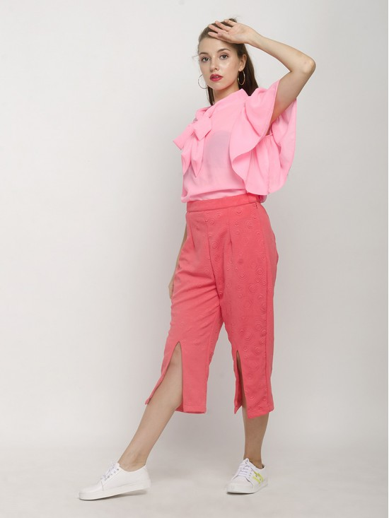 Batwing Sleeve Top With A Long Tie Paired